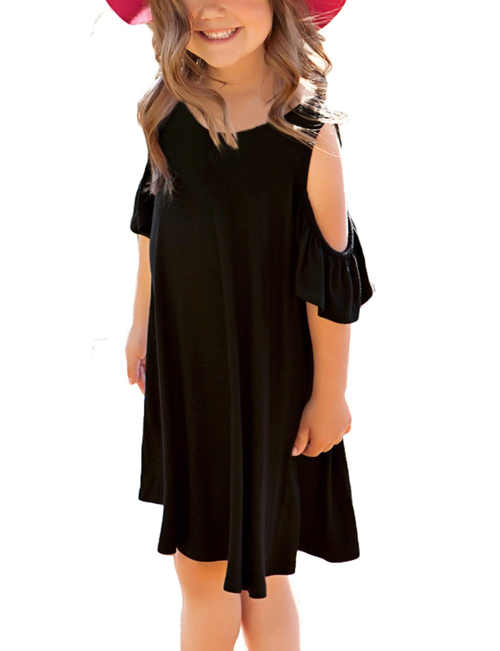 Utyful Girl's Ruffle Cut Out Short Sleeve Loose Casual Tunic Shirt Swing Dress Black Size X-Large (10-11 Years)