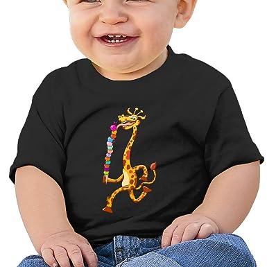 1838282cb8 Kkidj Ooii Kids Short-Sleeve T Shirts Giraffe Eating Ice Cream Birthday Day  Baby Girl