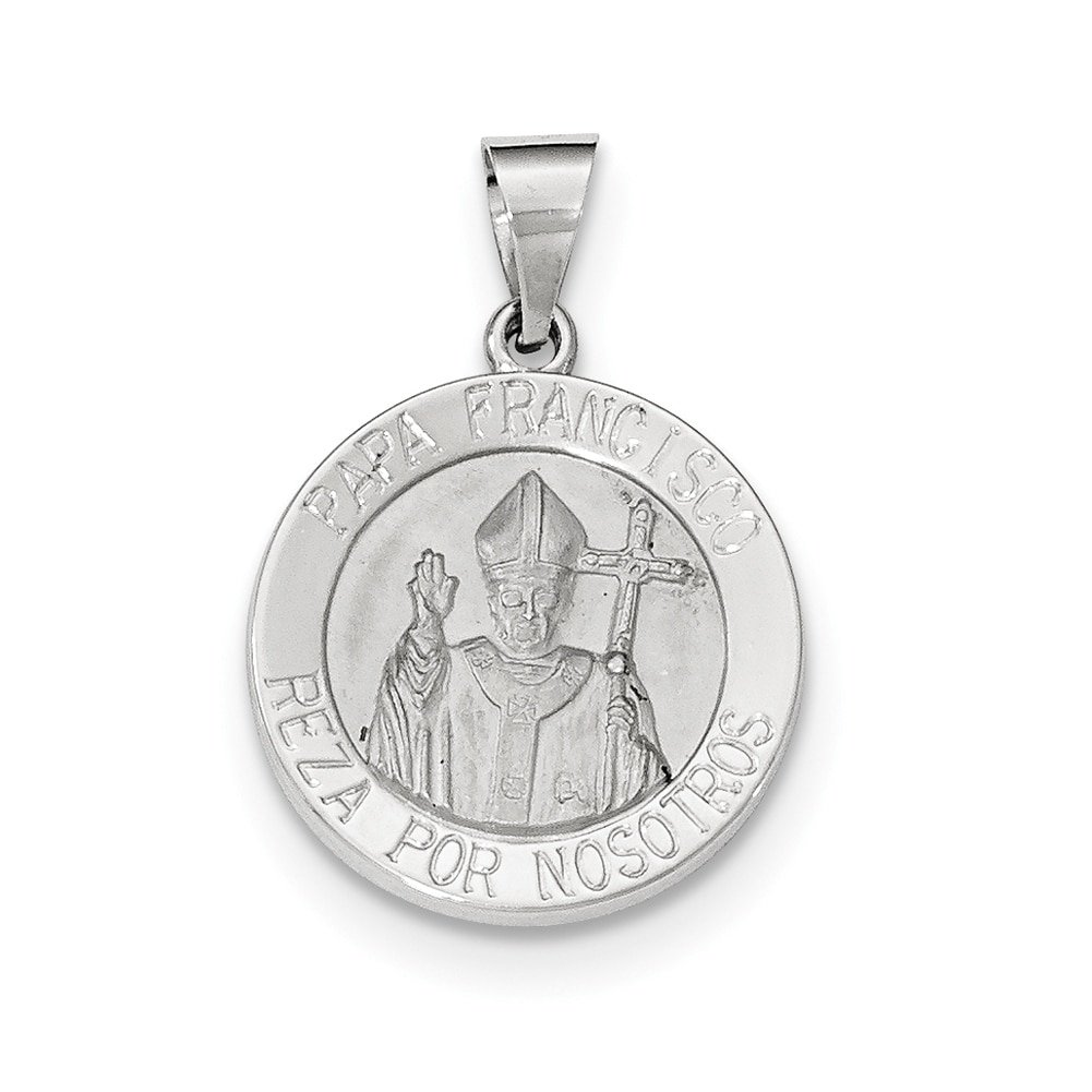Lex /& Lu 14k Yellow Gold Satin and Polished Hollow Pope Francisco Medal