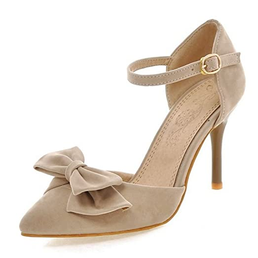 Women Dressy High Heel Sandals Stiletto Ankle Strap Closed Toe Shoes with Bow Size 1-12.5 US