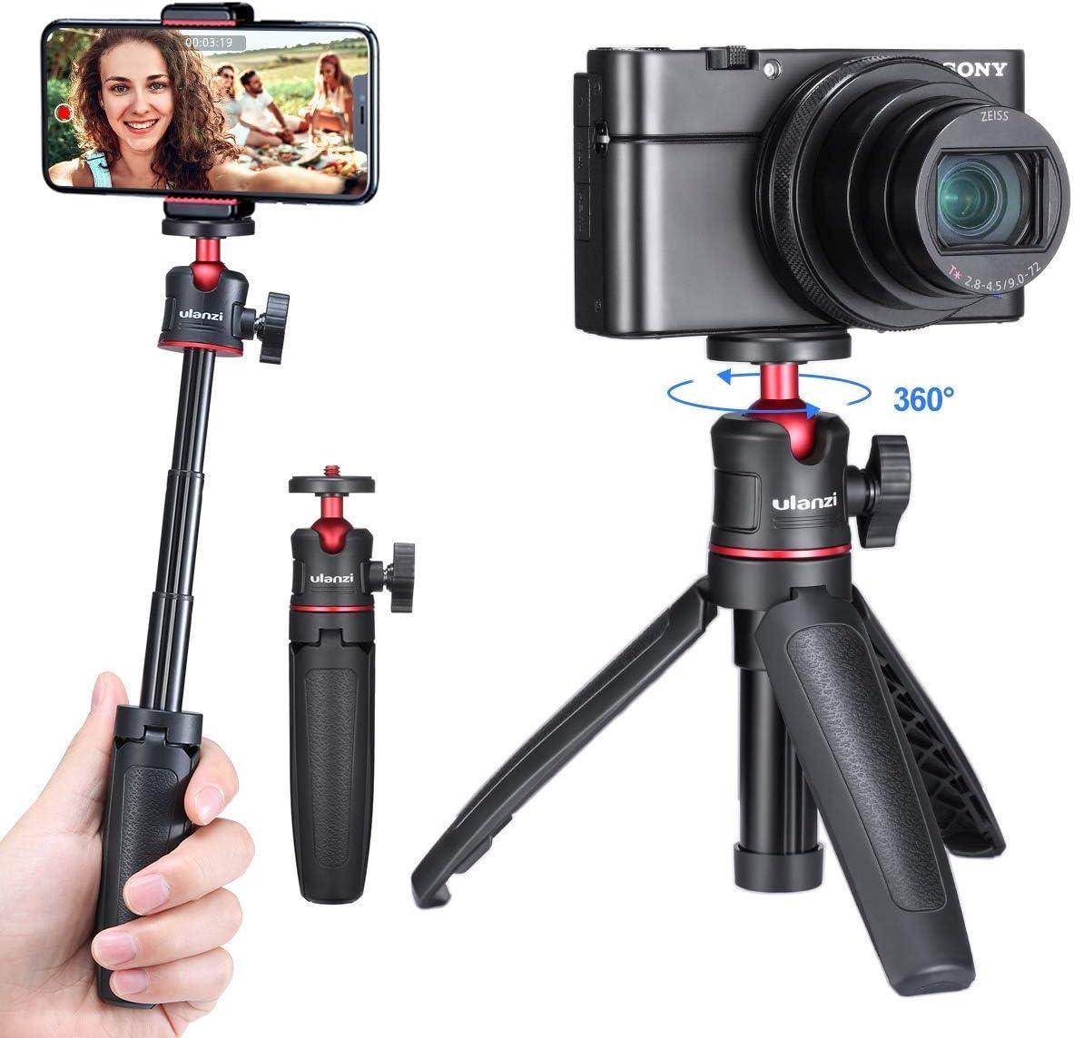ULANZI MT-08 Extension Pole Tripod, Mini Selfie Stick Tripod Stand Handle Grip for iPhone 11 Pro Max Samsung OnePlus Google Smartphone Canon G7X Mark III Sony RX100 VII A6400 A6600 Cameras Vlogging