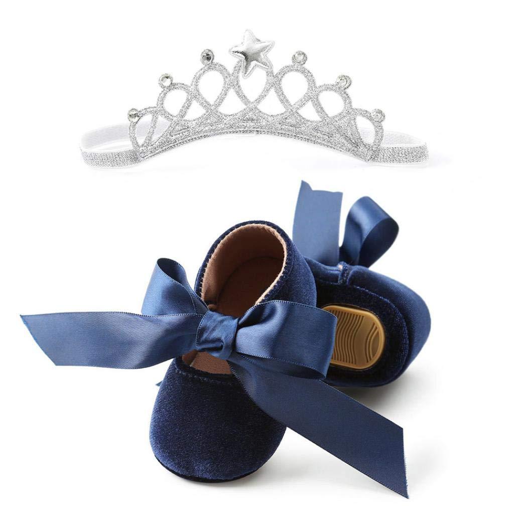 Zapatos de bebé, ASHOP Niña Casuales Zapatillas del Otoño Invierno Bowknot Deporte Antideslizante del Zapatos Boots + Banda para el Cabello 0-18 Meses ASHOP_2458