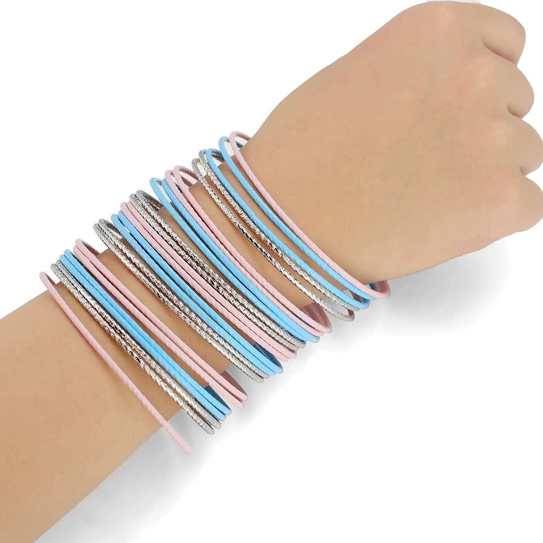 ENSOUL Colorful Painted Enamel Coated Mixed Metal Multi Bangles Bracelets for Women