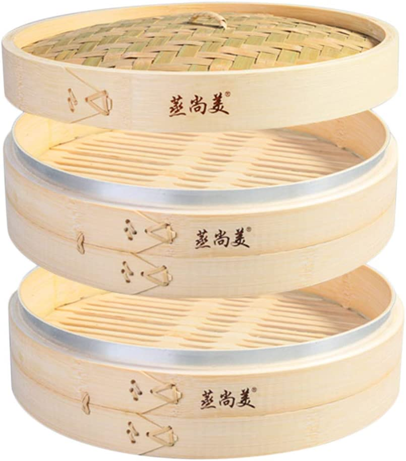 Hcooker 2 Tier Kitchen Bamboo Steamer with Stainless Steel Banding for Asian Cooking Buns Dumplings Vegetables Fish Rice