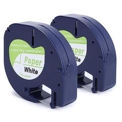 "2PK Paper Label Tape for DYMO Letra Tag LT100T LT 91330 Black on White 1//2/"" 12mm"
