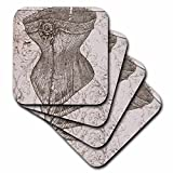 3dRose cst_110254_1 Vintage Corset Steampunk Art-Soft Coasters, Set of 4