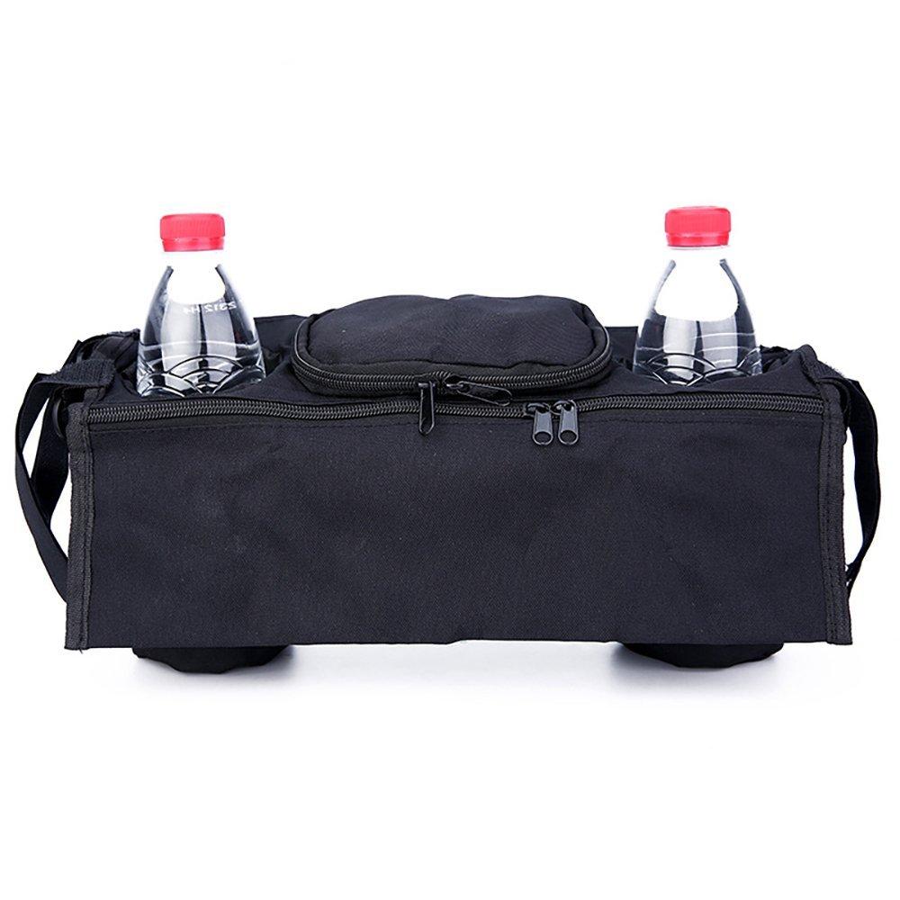 hilai Universal Baby Kinderwagen Kinderwagen Organizer Tasche zum Aufhä ngen Tasche mit Becherhalter und Schultergurt Extra Stauraum fü r Organisieren Baby Accessoires und Handys (schwarz)
