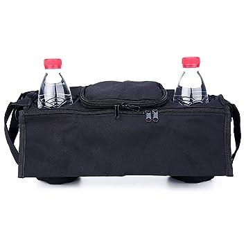 Hilai Universal Baby Stroller Pram Organizer Bag Bolsa colgante con portavasos y correa para el hombro Espacio de almacenamiento extra para organizar ...