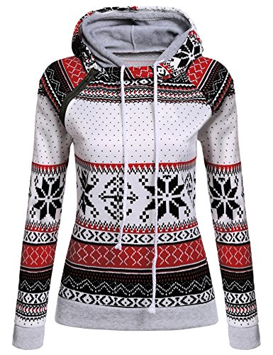 PEATAO Casual Pullover Hoodies Side Zipper Sweatshirts, Long Sleeve Cotton Clothes, Snowflake, Large (Sweatshirt Hoodie Snowflake)