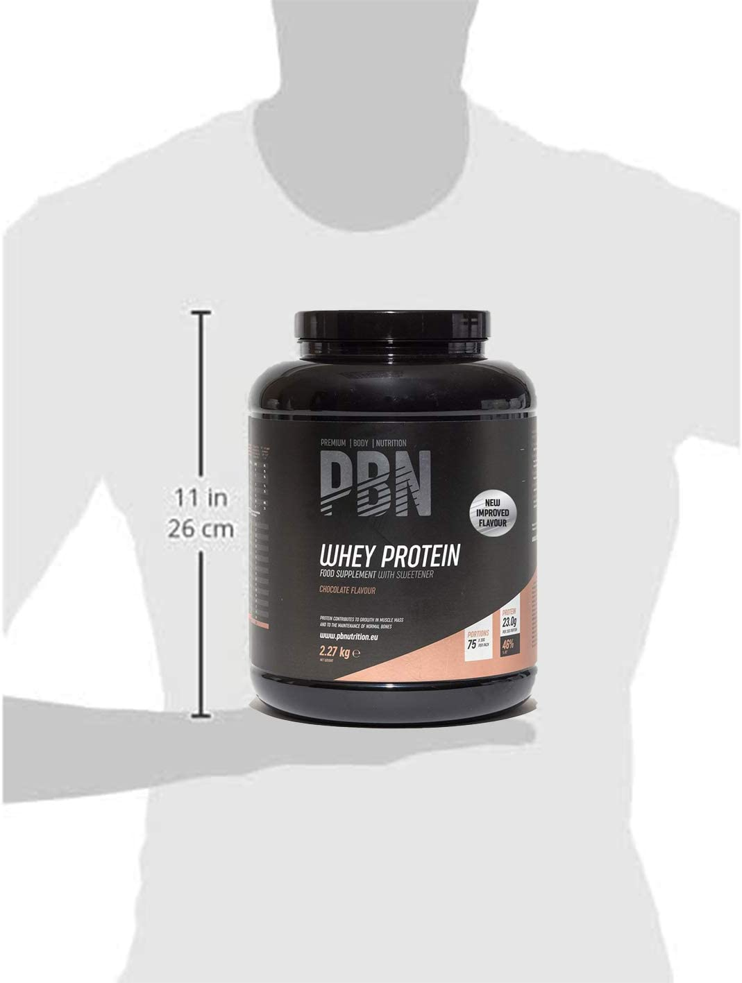 PBN Premium Body Nutrition - Proteína de suero de leche en polvo, 2.27 kg (Paquete de 1), sabor Chocolate, sabor optimizado