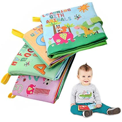 Baby Soft Cloth Book Cute Cartoon Animals Non-Toxic Infants Educational Book Toy