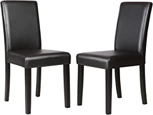 wood and leather chair. Mecor Dining Chairs Set Of 2,4,6 Kitchen Leather Chair With Solid Wood And