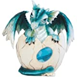 """George S. Chen Imports SS-G-71469 Blue Baby Dragon in Eggshell with Gem Figurine, 4.5"""""""