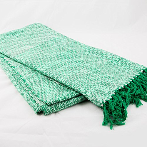 sansukjai-100-cotton-green-soft-hand-woven-blanket-mattress-cover-size-110-cm-x-200-cm
