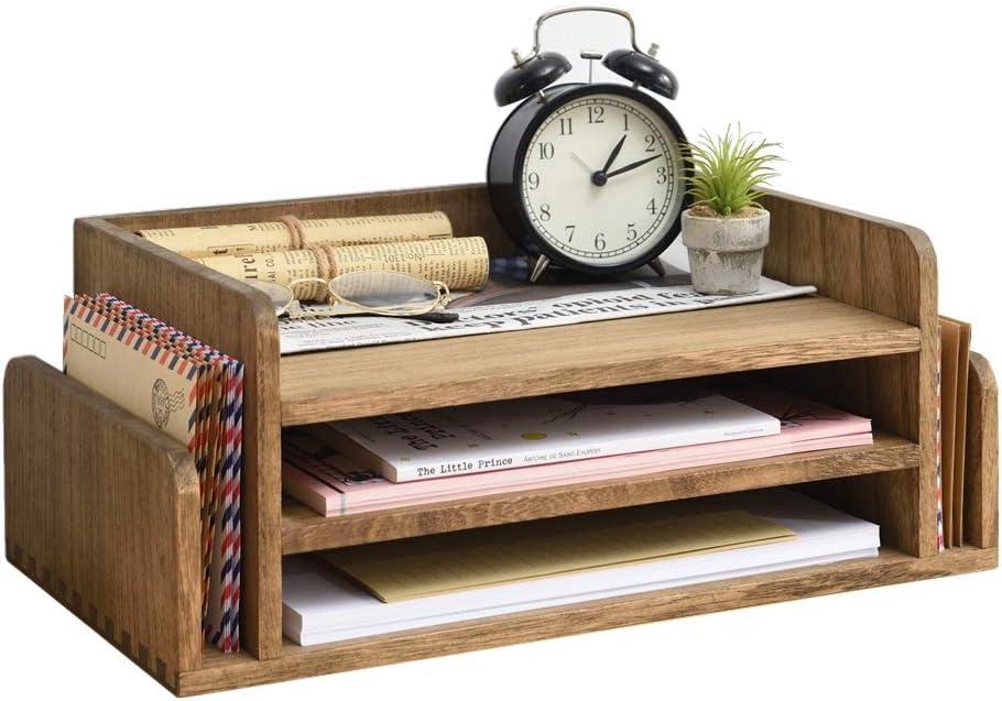 Wood Desk Organizer 5 Trays - Desktop Document Letter Tray for Folders, Mail,File -Kirigen Nature 3-Tier Office Mail Sorter Organizer Rack/Telephone Stand/Document Holder Dark Brown(2TP-DBR)