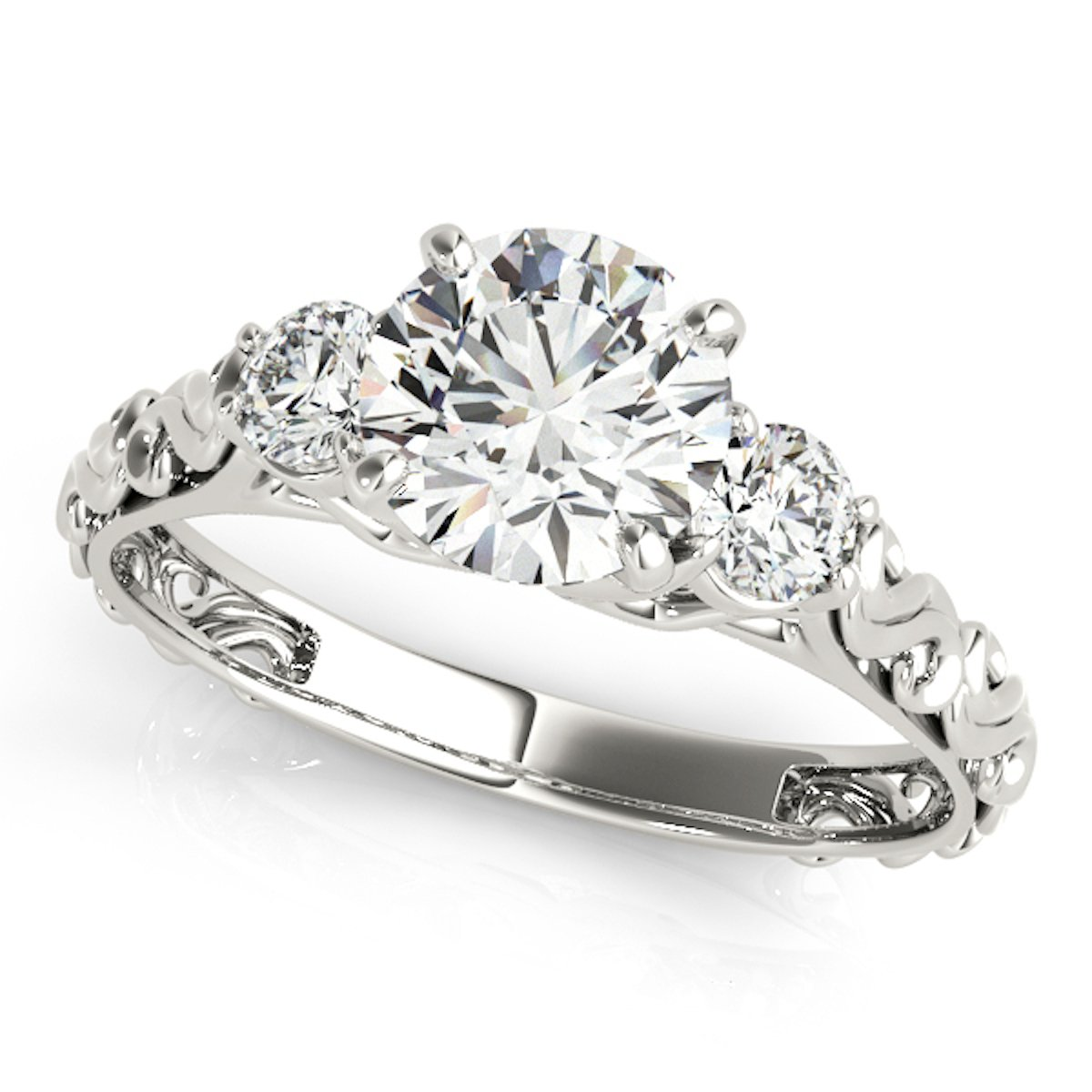1/2 Carat Halo Engagement Diamond Ring Crafted In 14k White Gold