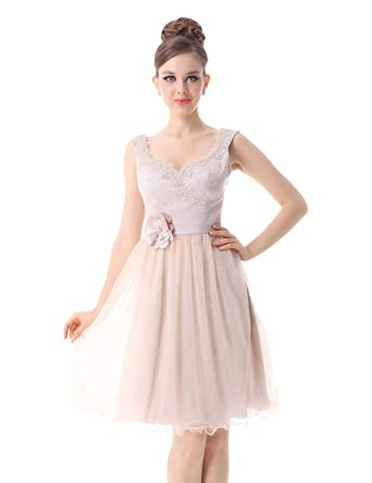 Alisa Pan Womens Laced Bust Knee Length Short Prom Dress 10 US khaki