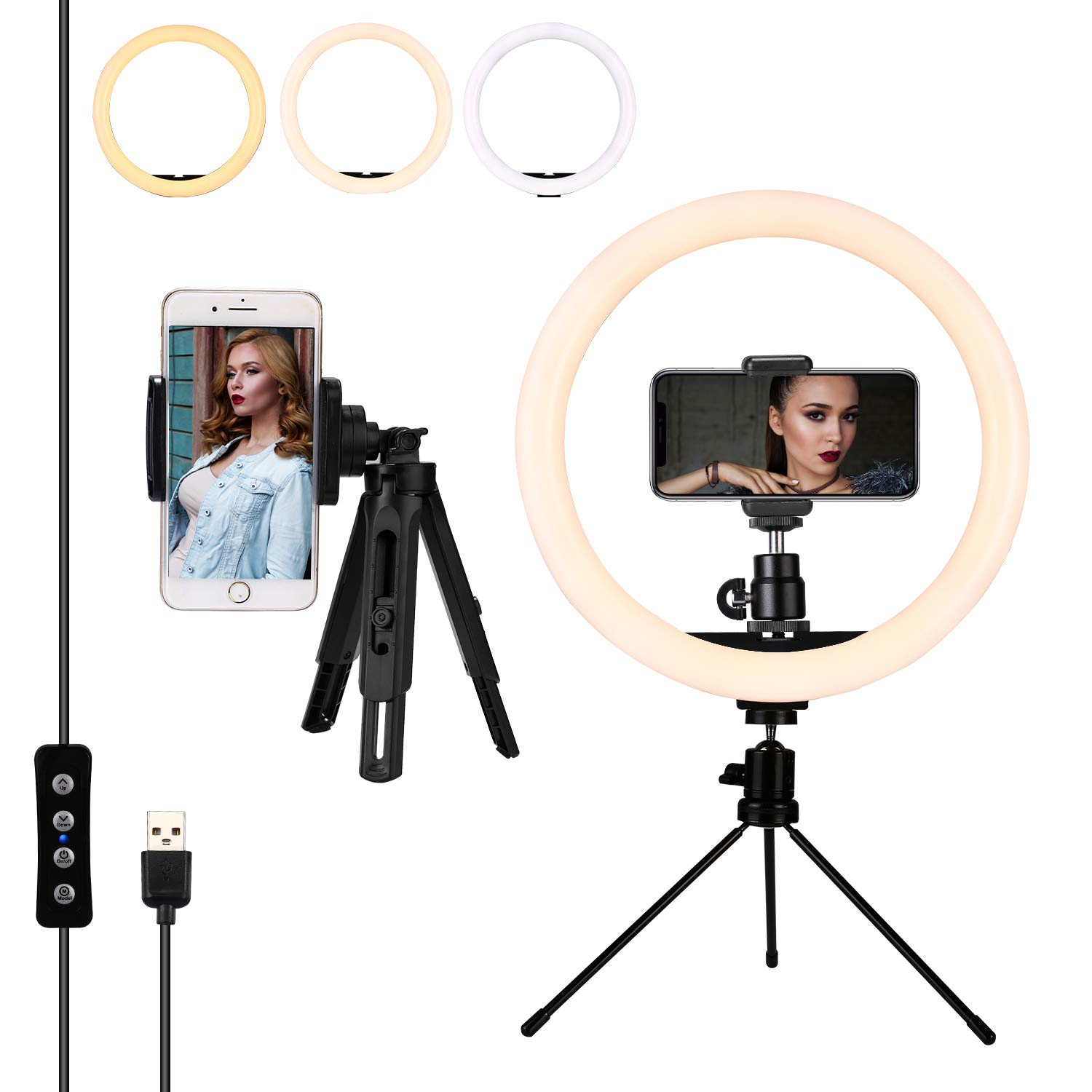 12 Inches LED Ring Light with Stand and 2 Cell Phone Holder, Brightness Dimmable from 10% to 100% for YouTube Video Shooting, Live Streaming, Selfie, Vlog, Makeup with 3 Color Modes,Black,Acrlux