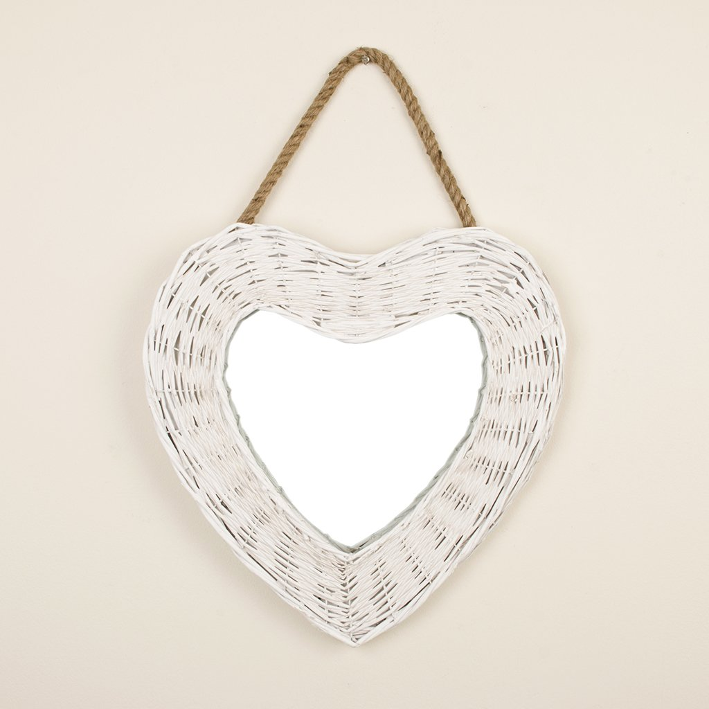 Rustic White Wicker Heart Shaped Wall Mirror (Y789-WHT) - Perfect Addition to create a Country Homely Feel With Added Light to Hallways, Bedrooms And Bathrooms. - H 40 x W 40 cm Dibor
