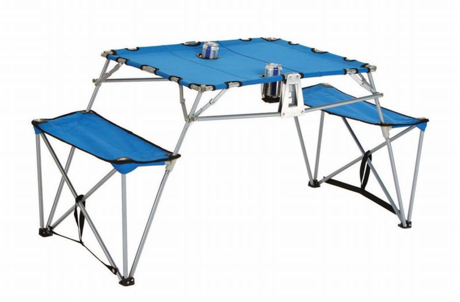 ポータブル折畳テーブルとベンチwith Cupholdersバックパックset-blue B00L49K2A4