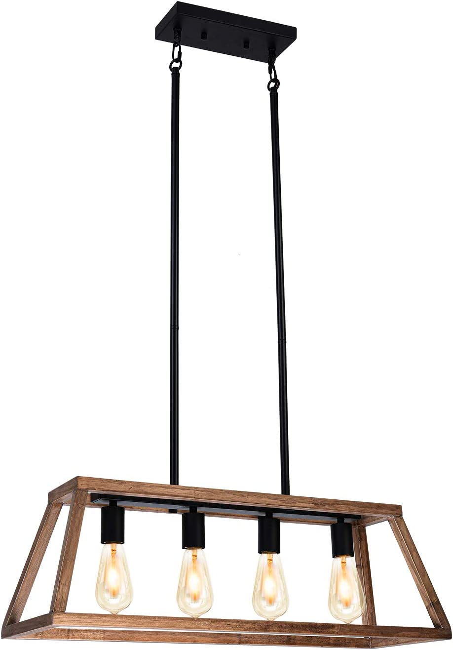 Gzbtech Farmhouse Dining Room Lights 4 Light Metal Wood Rustic Linear Chandeliers In Black Finish 120v 39 35 Height Adjustable Vintage Pendant Lighting Fixture For Kitchen Island Over The Tablle Amazon Com