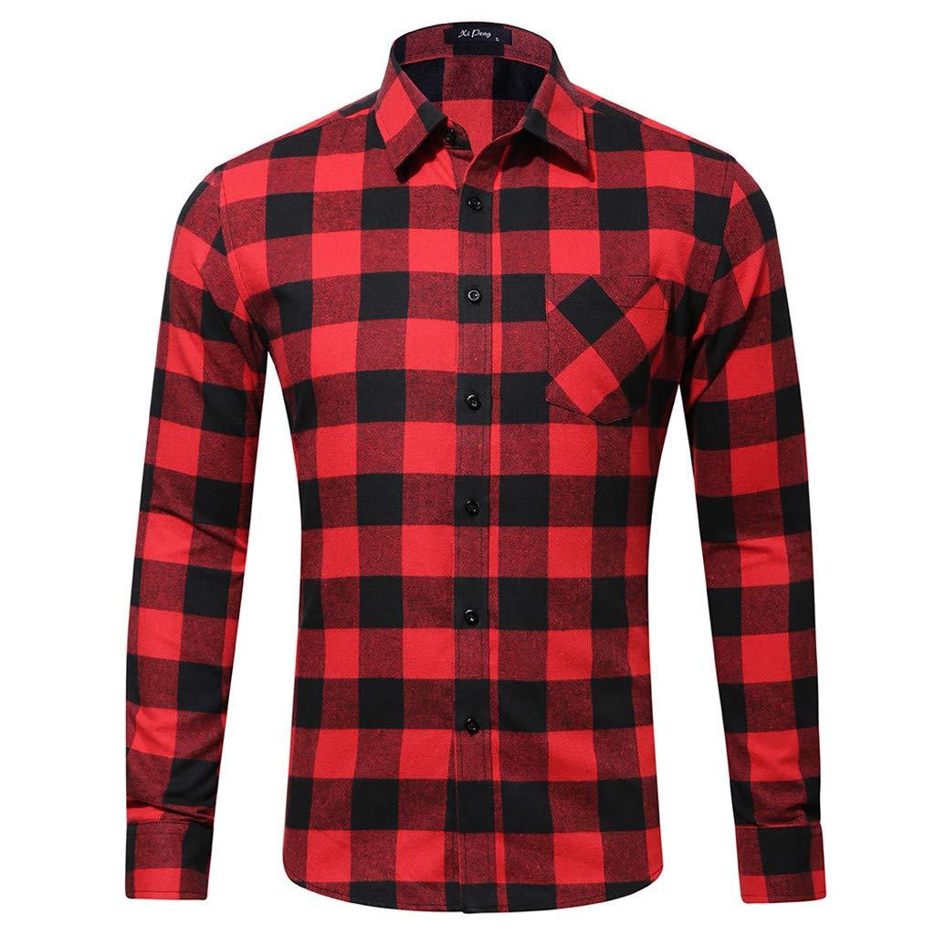 Zoilmxmen Mens Plaid Shirt,Mens Fashion Casual Long Sleeved Shirt Single Pocket Lattice Printed Shirt