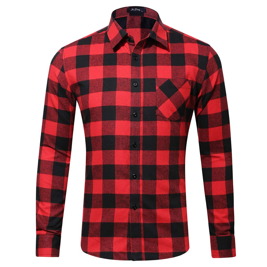 NewlyBlouW Mens Blouse, Fashion Long Sleeve Tees Casual Turn Down Collar Top Single Pocket Plaid Printed Vest Tank Red