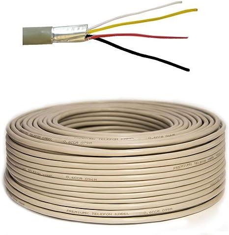 50m Cable telefónico PremiumX 2x2x0,6 mm J-Y (ST) Y Cable de instalación de 50 m línea telefónica Redonda 4 Cables: Amazon.es: Electrónica