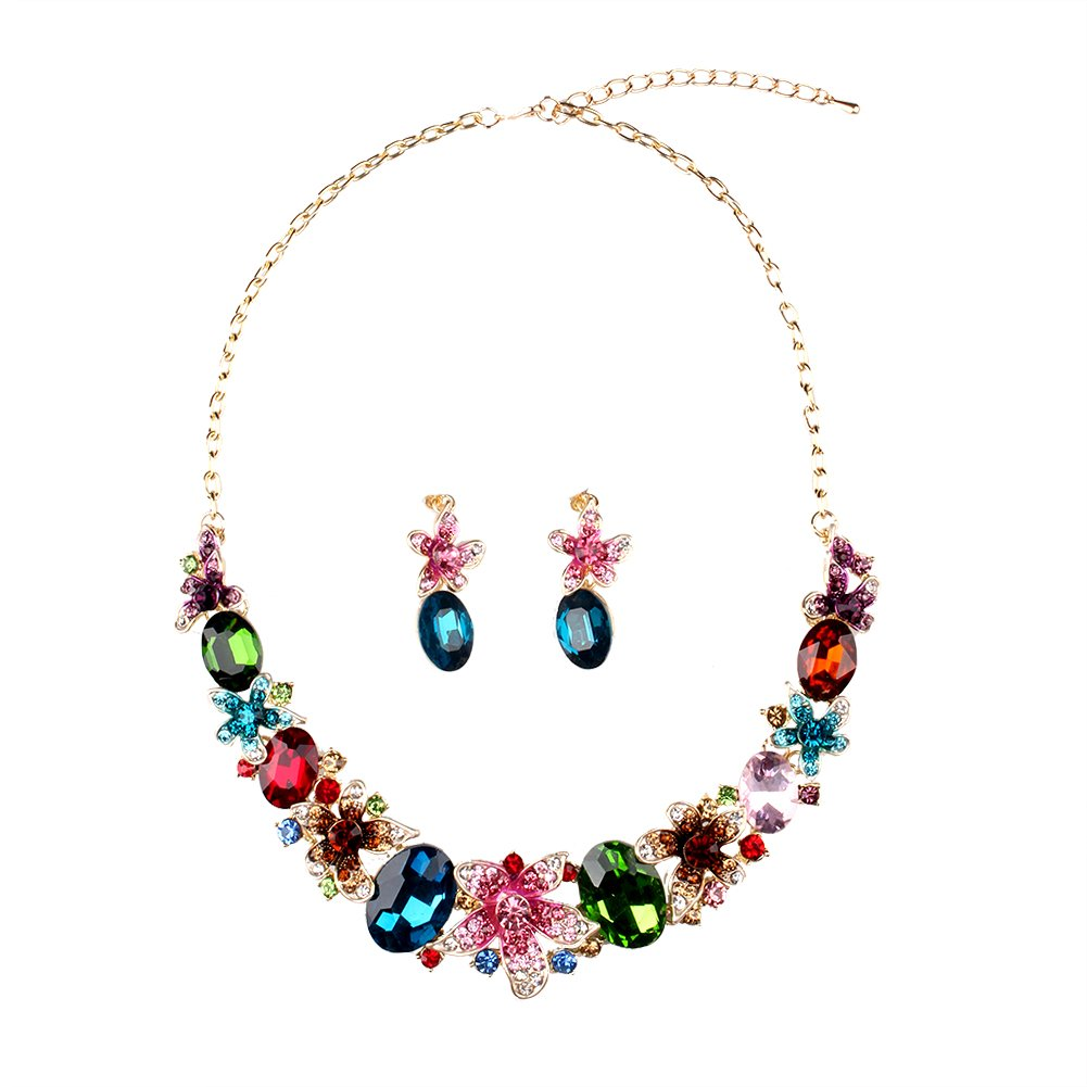 Hamer Collar Costume jewelry Crystal Choker Pendant Statement Chain Charm Necklace and Earrings Sets Women (1#)