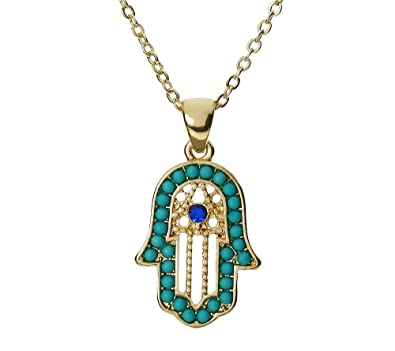 Gold plated Fatima Hand Necklace with blue turquoise crystals