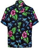 LA LEELA Likre Aloha Dress Men's Shirt Black 510