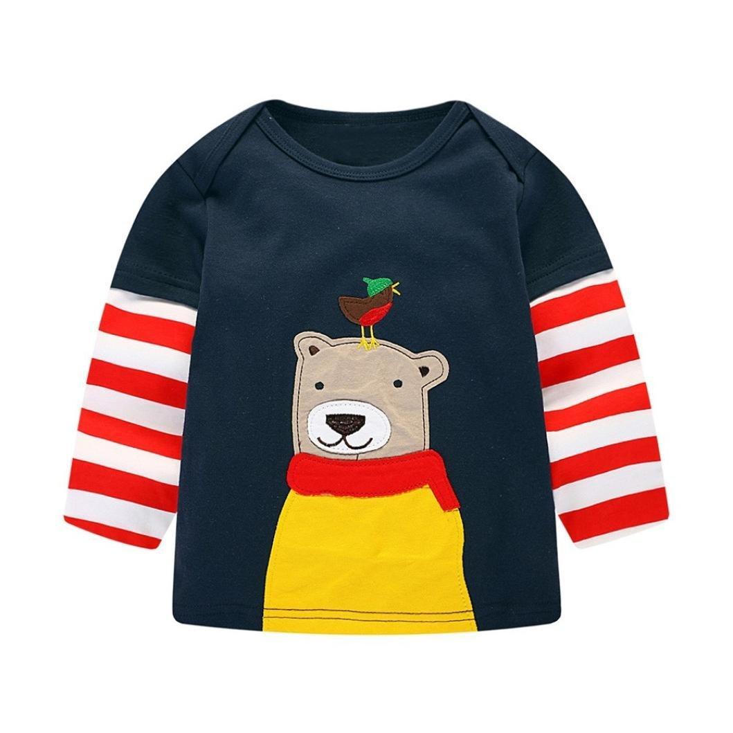 Neugeborene Baby Sweatshirt Kleidung Junge Mädchen Langarm Karikatur Bär Pullover Tops Outfits Kleinkind Kinder Baumwolle Gestreift T-Shirt Kleider Babykleidung Jungenkleidung