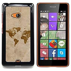 """Qstar Arte & diseño plástico duro Fundas Cover Cubre Hard Case Cover para Nokia Lumia 540 (Mapa de Arte de la acuarela Eart Continentes América"""")"""