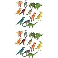 Baosity 24Pcs 4-7cm Plastic Mini Dinosaur Animals Model Figurines Kids Playset Toys