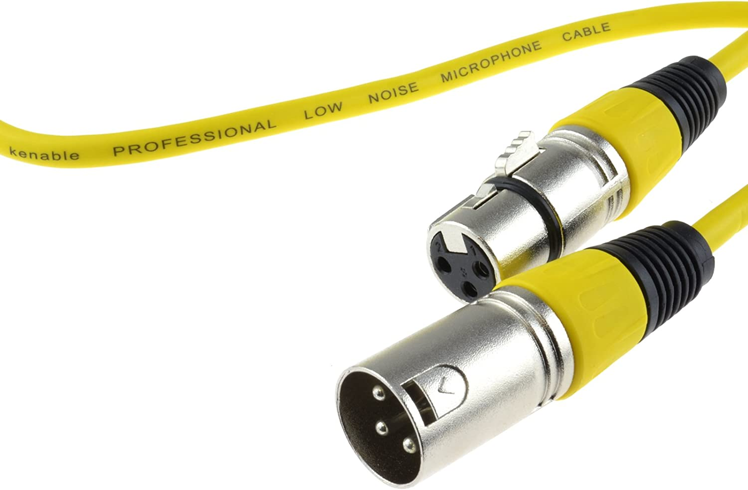 kenable XLR Microphone Lead Male to Female Audio Cable Yellow 0.3m ~1 Foot