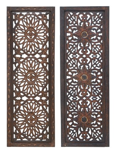 "Deco 79 34087  Large Hand-Carved Wood Wall Decor Panels Flower Wall Art, Spring & Summer Wall Decor, Rustic Summer Decorations| Set of 2: 12"" x 36"" Each"