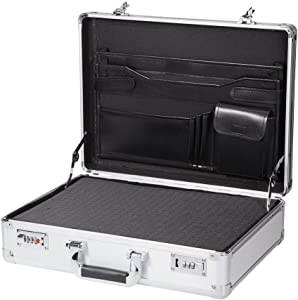 Silver Aluminum Mens Briefcase Metal Aluminum Hard Case Portable Toolbox Carrying Case Professional Flight Case
