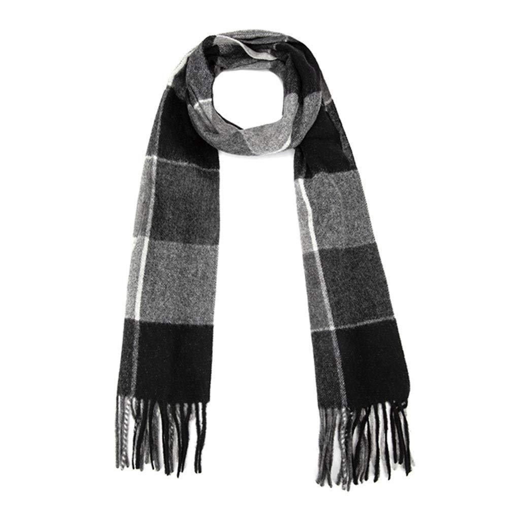 Black ZDD Winter Elegant Wool Scarf Warm Scarf Male (color   Black, Size   30x180cm)