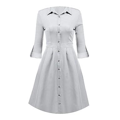 Dem Dress 1950s 60s Big Swing Vintage Roll Up Sleeve Jeans Cowboy Dress Elegant Tuc S