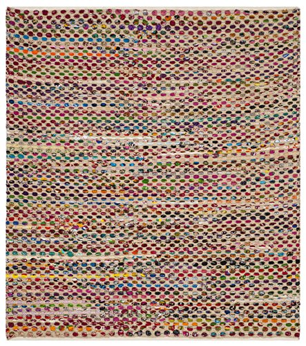 Safavieh Cape Cod Collection CAP302A Handmade Natural and Multicolored Jute Area Rug (6' Square) 6' Natural Area Rug