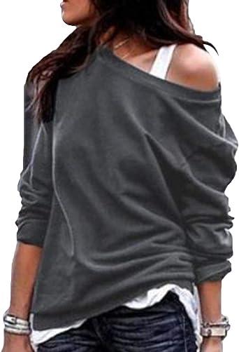 YOINS Camiseta Mujer de Manga Larga Blusa con Hombros Fríos Camisa Casual Camisetas a Rayas Cuello Redondo Imprimiendo Pullover: Amazon.es: Ropa y accesorios