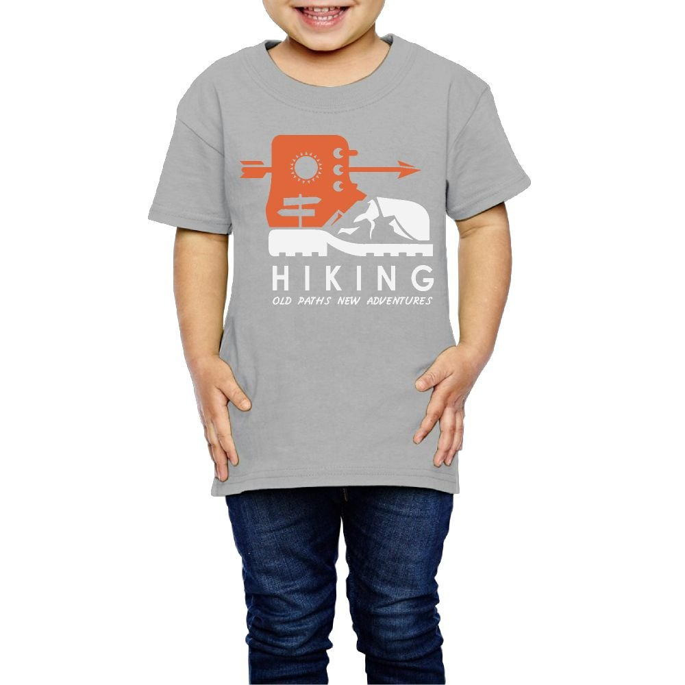Yishuo Boys Hiking Old Paths New Adventure Funny Travel Shirt Short Sleeve Gray 4 Toddler
