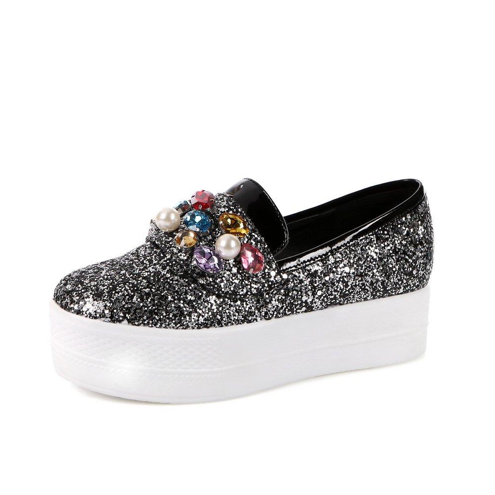 BalaMasa Womens Glass Diamond Sequin Color Matching Thick Bottom Heel Silver Blend Materials Pumps-Shoes - 8 B(M) US