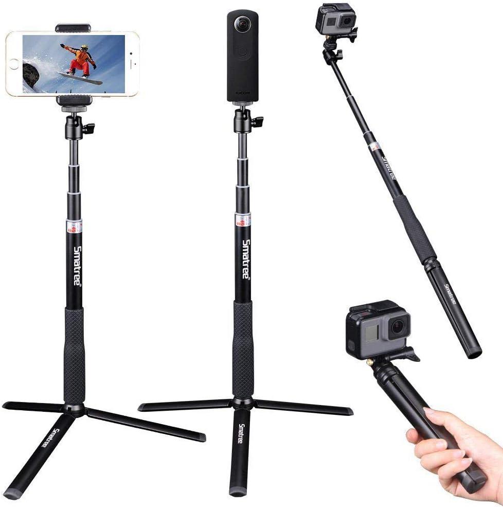 Smatree Q3S Palo Selfie Stick con Trípode para GoPro Hero 2018, Hero 7/6/5/4/3+/3/2/1/Fusion/Session,Ricoh Theta S,M15,Cámaras Osmo Action y Teléfonos Móviles