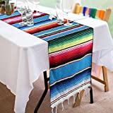 Focushow 14 x 84 inch Mexican Serape Table Runner Hand-Woven Blanket Colorful Striped Mexican Table Runner for Mexican Party Wedding Decorations, Fringe Cotton Table Runner