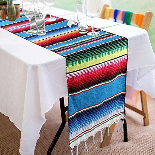 Focushow 14 x 84 inch Mexican Serape Table Runner Hand-Woven Blanket Colorful Striped Mexican Table Runner for Mexican Party Wedding Decorations, Fringe Cotton Table Runner by Focushow