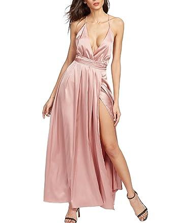 Floerns Women s Deep V Neck Plunging Surplice Front Crisscross High Slit  Cami Maxi Dress Pink XS d2b9b3499
