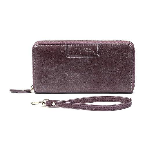 bf7c8b511c1a FT Funtor Clutch Wallet for Women, Ladies Zip around Clutch Wallet PU Vegan  Leather Long Purse Phone Card Holder Organizer Purple