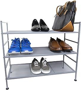 Home Basics Space Saving Metal Mesh Strong Durable Shoe Boot Rack Organizer, Grey (3 Tier)