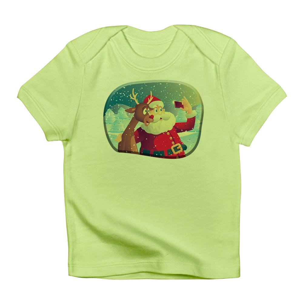Truly Teague Infant T-Shirt Santa and Rudolf Taking a Selfie Kiwi 3 To 6 Months